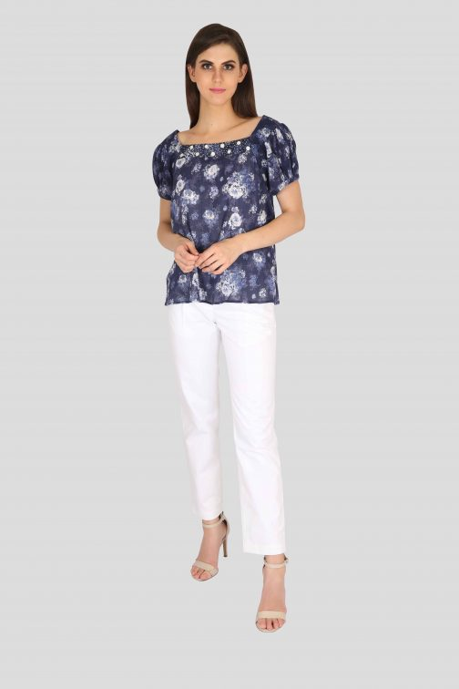 Navy blue and ivory floral cotton printed puff sleeve top